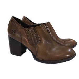 Born Brown Leather Ankle Heeled Boots, Size 8.5